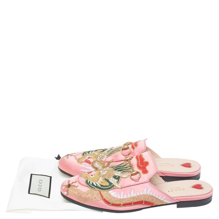 Gucci Pink Satin Dragon Embroidery Princetown Mule Flats Size 40 For Sale 3