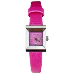 Gucci Pink Satin G Frame Ladies Watch 1285 Never Worn