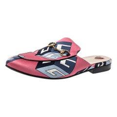 Gucci Pink Satin Princetown Horsebit Mules Sandals Size 36