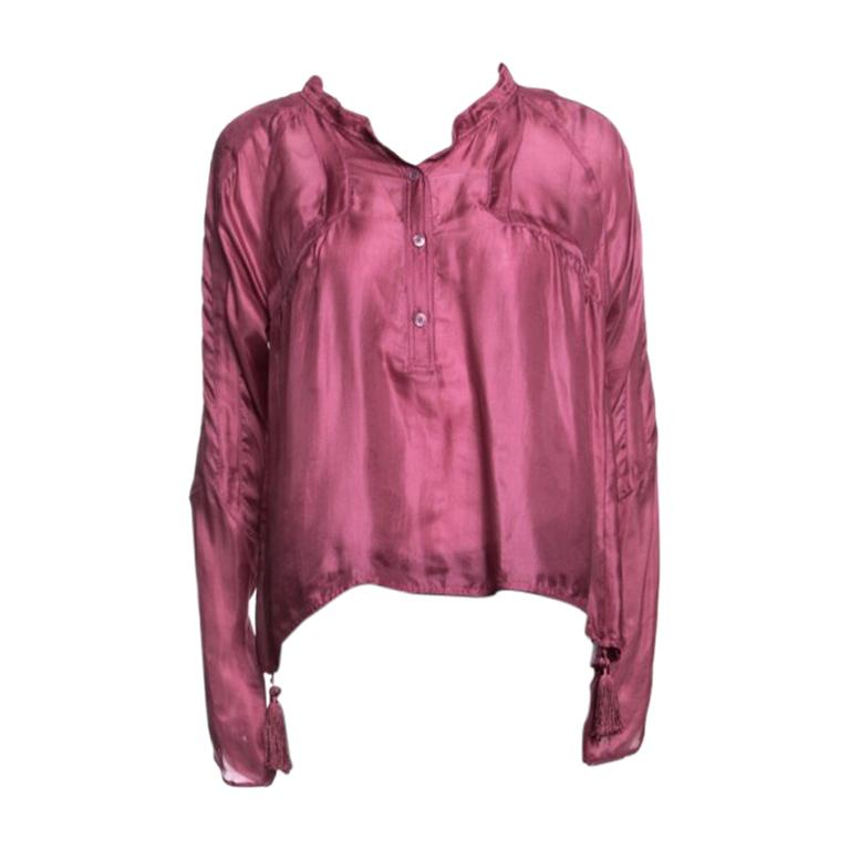 bee53d88c Gucci Pink Silk Tassel Detail Long Sleeve Blouse S For Sale at 1stdibs
