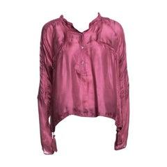 Gucci Pink Silk Tassel Detail Long Sleeve Blouse S