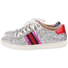 Gucci Pink Silver Glitter Ace Web Detail Sneakers