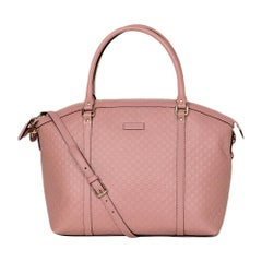 Gucci Pink Soft Leather Microguccissima Monogram Large Dome Satchel w/ Strap