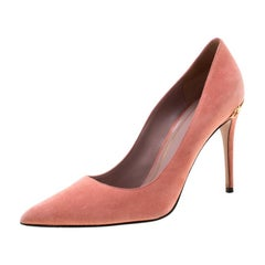Gucci Pink Suede Adina Horsebit Detail Pointed Toe Pumps Size 38