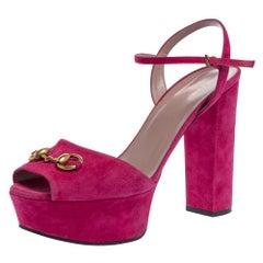 Gucci Pink Suede Claudie Horsebit Sandals Size 41