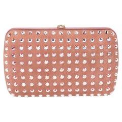 Gucci Pink Suede Crystal Embellished Broadway Clutch