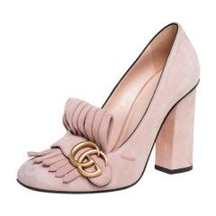 Gucci Pink Suede GG Marmont Fringe Detail Block Heel Pumps Size 38