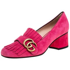 Gucci Pink Suede GG Marmont Fringe Detail Square Toe Block Heel Pumps Size 36