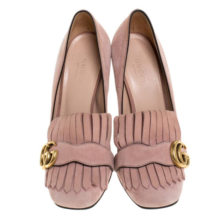 Gucci Pink Suede Leather Fringe Detail GG Marmont Block Heel Pumps Size 36 In Good Condition In Dubai, Al Qouz 2