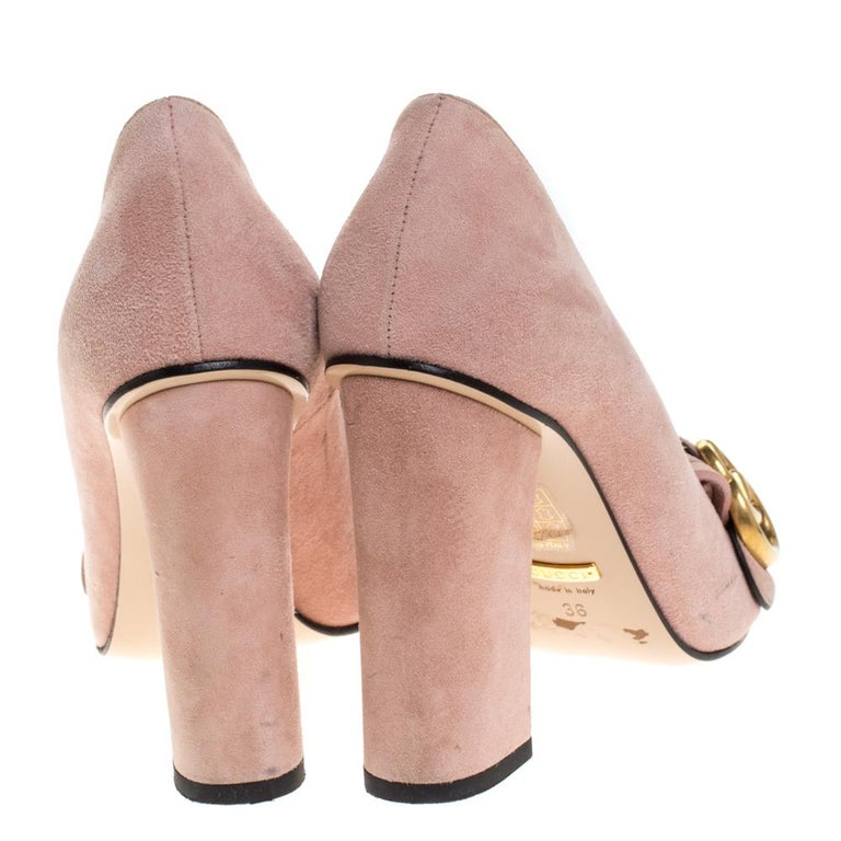 Women's Gucci Pink Suede Leather Fringe Detail GG Marmont Block Heel Pumps Size 36
