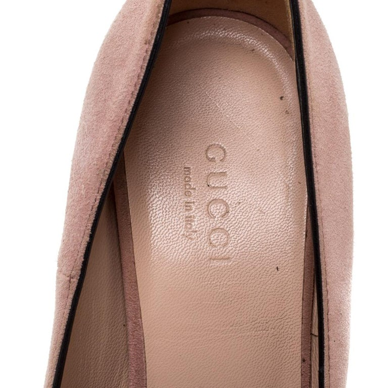 Gucci Pink Suede Leather Fringe Detail GG Marmont Block Heel Pumps Size 36 1