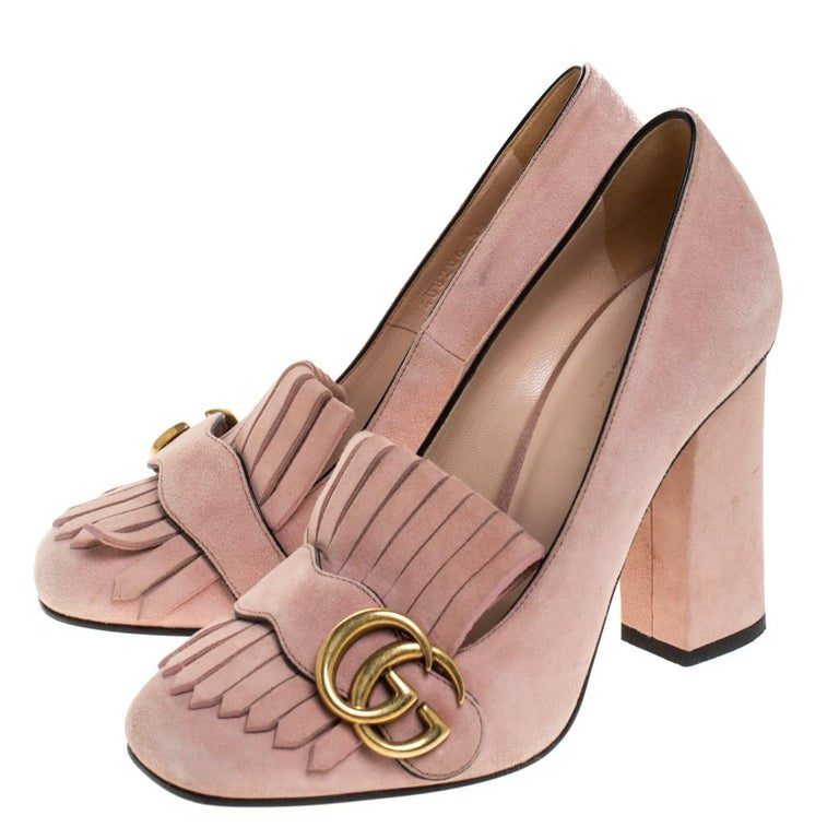 Gucci Pink Suede Leather Fringe Detail GG Marmont Block Heel Pumps Size 36 3