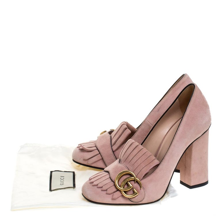 Gucci Pink Suede Leather Fringe Detail GG Marmont Block Heel Pumps Size 36 4