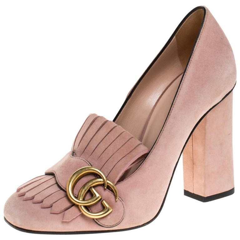 Gucci Pink Suede Leather Fringe Detail GG Marmont Block Heel Pumps Size 36