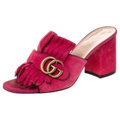 Gucci Pink Suede Leather GG Marmont Fringe Detail Open Toe Sandals Size 37