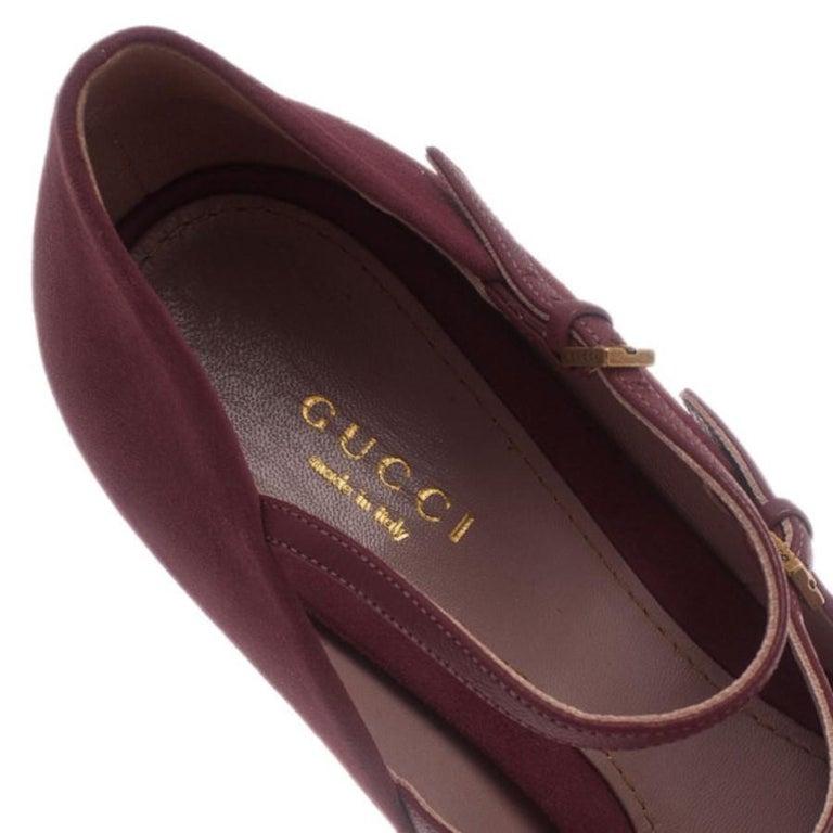 Gucci Pink Suede Lisbeth Multi Strap Platform Pumps Size 39 For Sale 6