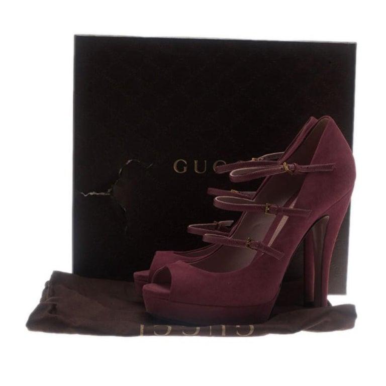Gucci Pink Suede Lisbeth Multi Strap Platform Pumps Size 39 For Sale 8