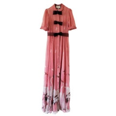 GUCCI Pink Swan Print Silk Gown with Bow Details IT42 US 4-6