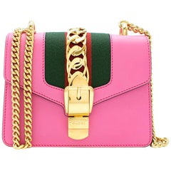 Gucci Pink Sylvie Leather Mini Chain Bag - New Season