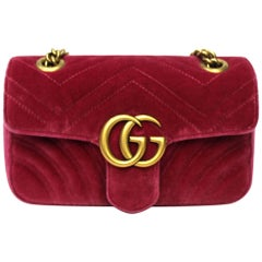 Gucci Pink Velvet Marmont Bag