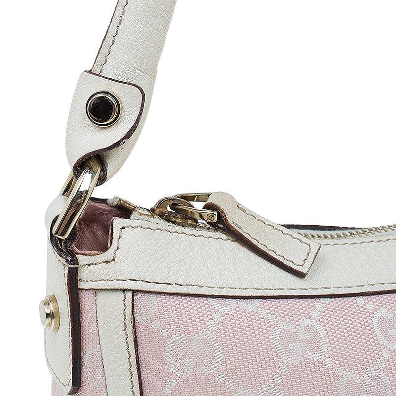 78a129a55b Gucci Pink White GG Canvas Shoulder Bag For Sale at 1stdibs