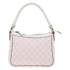 Gucci Pink/White GG Canvas Shoulder Bag