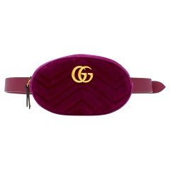 Gucci Plum GG Marmont quilted velvet belt bag