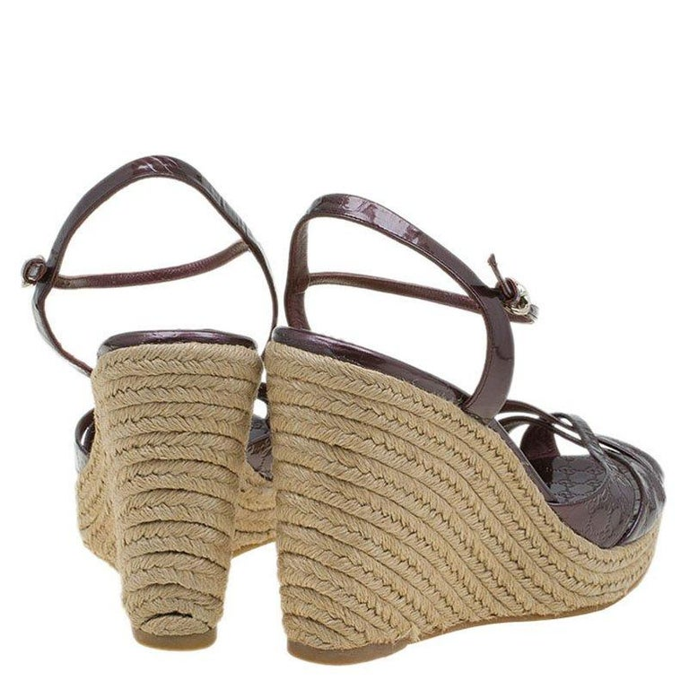 05f4693dbc4a Brown Gucci Plum Purple Patent Micro Guccissima Penelope Espadrille Wedges  Size 40 For Sale