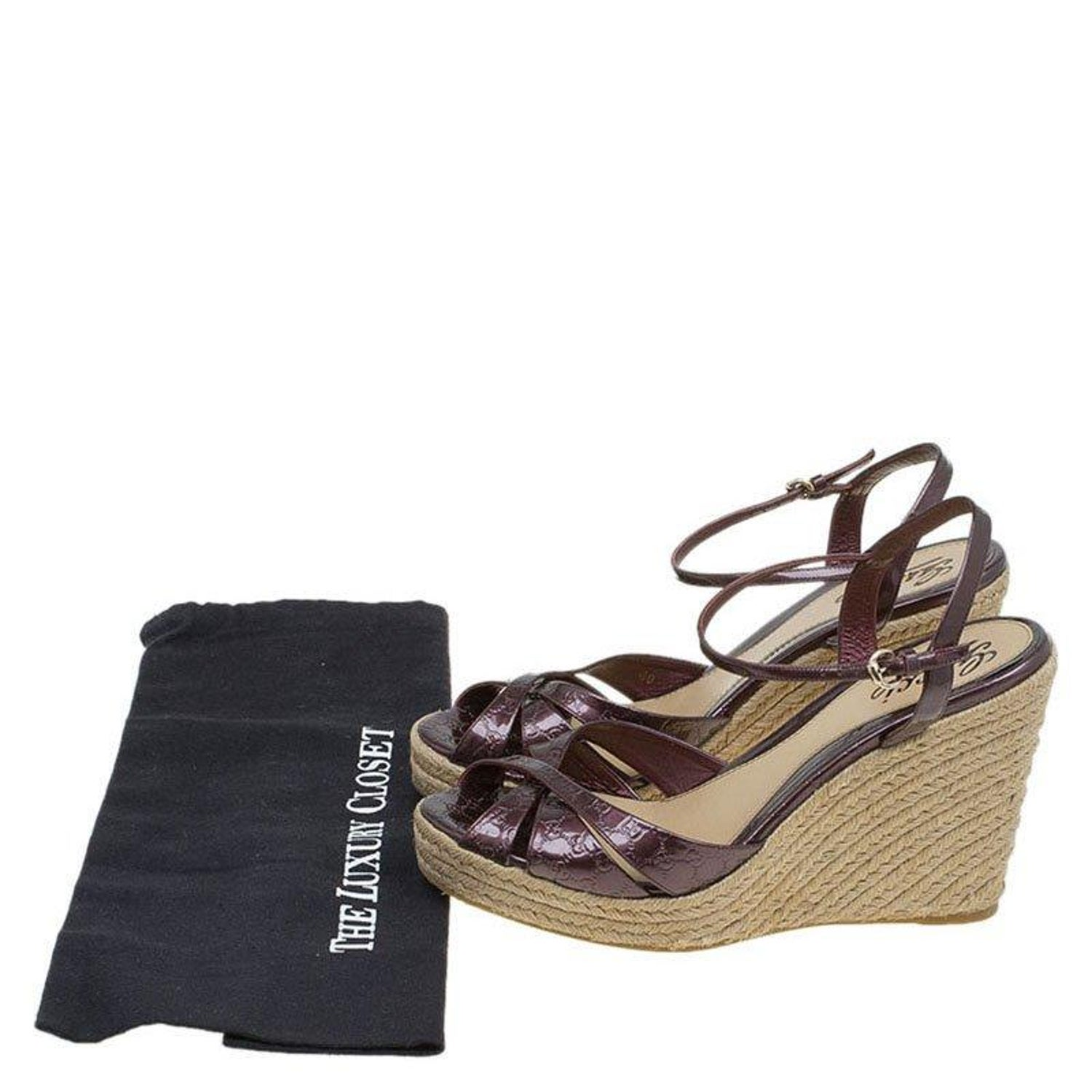 6a9f55009ac2 Gucci Plum Purple Patent Micro Guccissima Penelope Espadrille Wedges Size  40 For Sale at 1stdibs