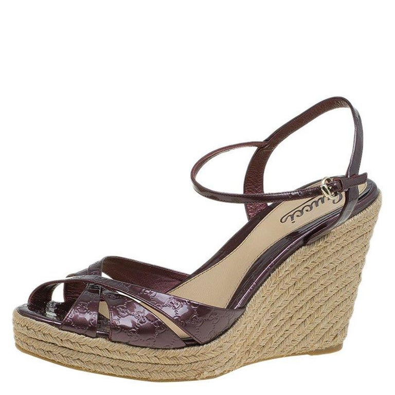 48ad3492180f Gucci Plum Purple Patent Micro Guccissima Penelope Espadrille Wedges Size  40 For Sale