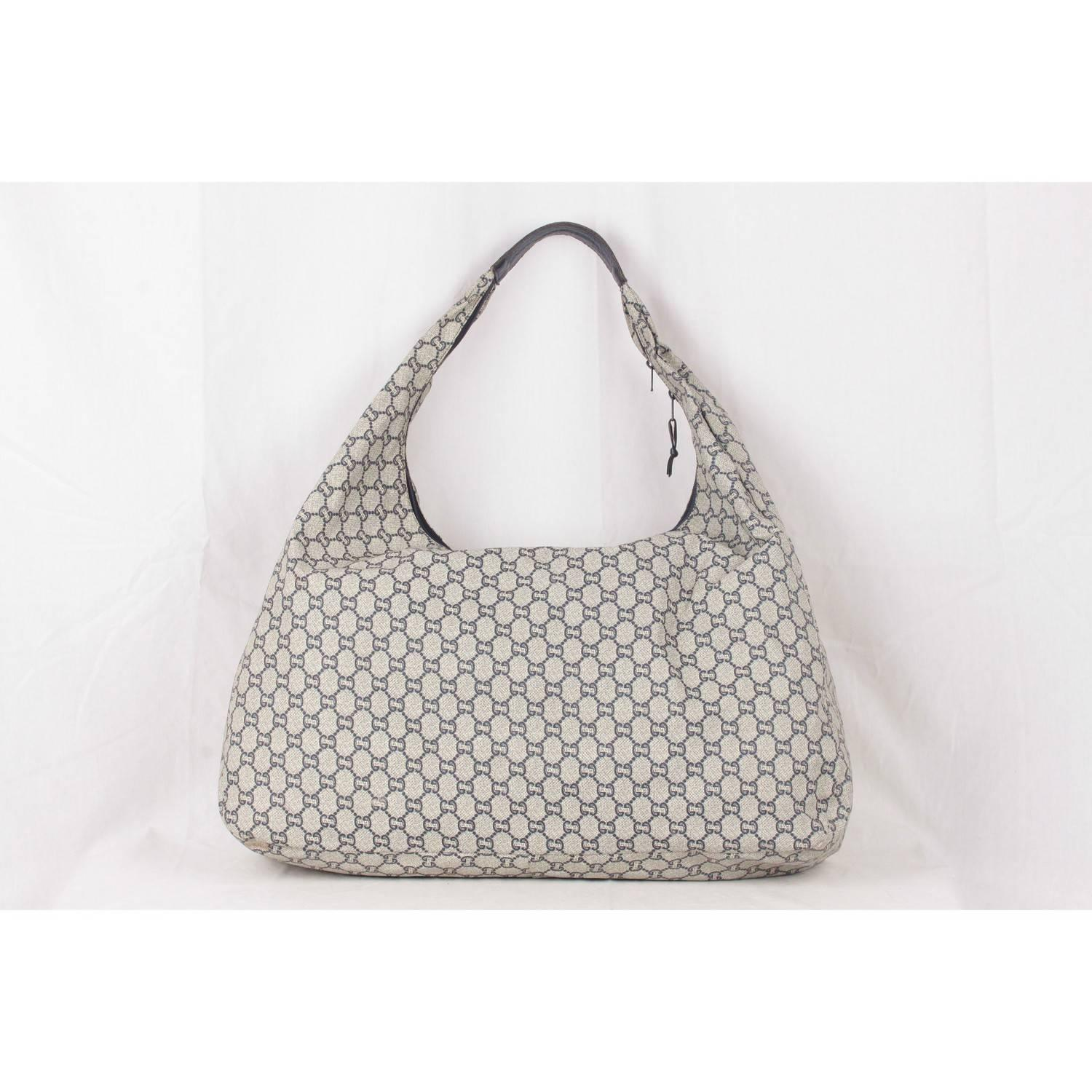 aa3374f81f0 Gucci Plus Vintage Blue Monogram Extra Large Hobo Bag For Sale at 1stdibs