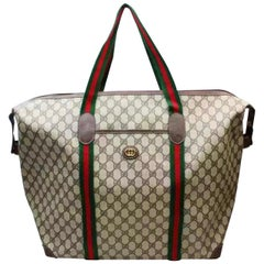 Gucci Plus Vintage Light Brown PVC Large Tote Shoulder Bag Striped Handles