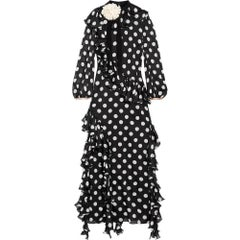 GUCCI Polka Dot Ruffle Silk Dress IT38 US 0-2