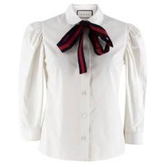 Gucci Poplin Shirt With Web Stripe Neck Bow 38 XS