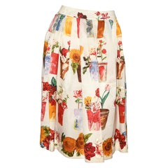 Gucci Potted Plants Floral Design Pleated Multi Color Silk Skirt