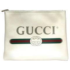 Gucci Pouch White Leather  Unisex Handbag