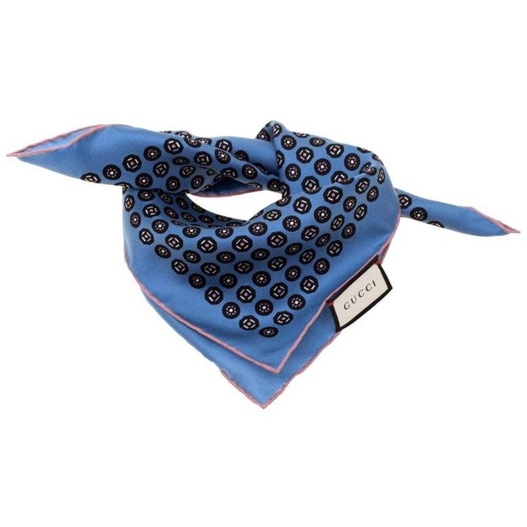Gucci Powder Blue Printed Silk Royal Pocket Square For Sale