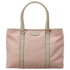 Gucci Pre-owned Pink GG Canvas & White Leather Tote, Large