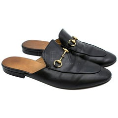 Gucci Princetown Black Leather Slippers SIZE 41