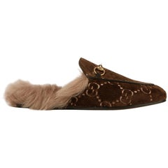 Gucci Princetown Horsebit-Detailed Shearling-Lined Logo-Facquard Slippers