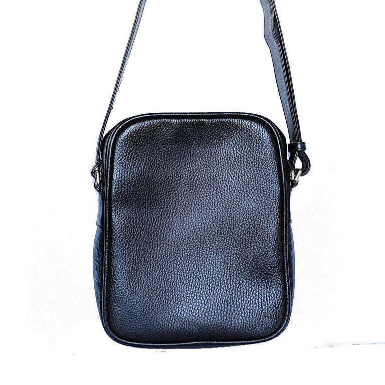 Gucci Print Messenger Black Leather Bag 523591 In Excellent Condition For Sale In Scottsdale, AZ