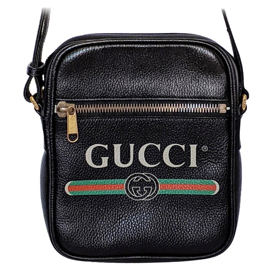 Gucci Print Messenger Black Leather Bag 523591