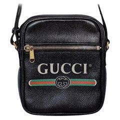 Gucci Print Messenger Black Leather Bag 523591