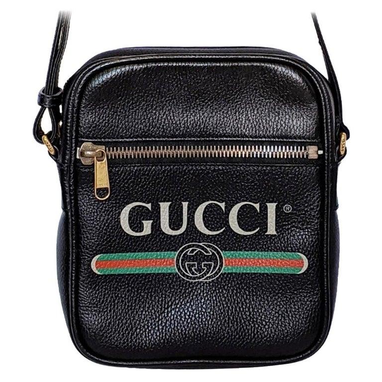 Gucci Print Messenger Black Leather Bag 523591 For Sale