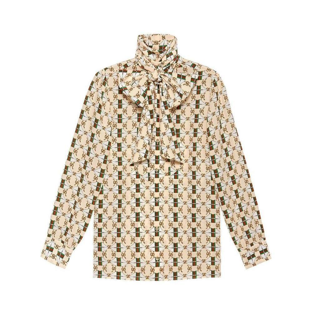 158fd8db GUCCI Size 8 Beige Silk Blouse For Sale at 1stdibs