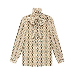GUCCI Print Silk Shirt with Web GG Print IT42 US4-6