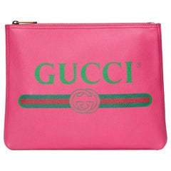 Gucci Printed Textured Leather Pouch