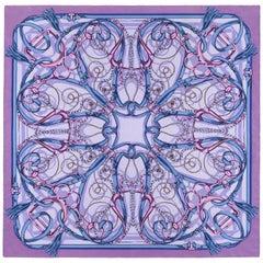 GUCCI Purple Blue Equestrian Kaleidoscope Print Large Square Silk Twill Scarf