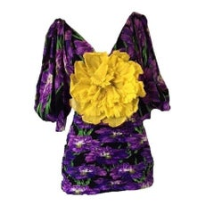 GUCCI Purple Crinkled Floral Purple Dress IT38 US 0-2