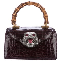 Gucci Purple Exotic Skin Crystal Top Handle Satchel Small Kelly Style Flap Bag